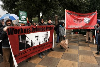 Not to be overlooked in the hubbub of opening day of the Legislature, members of the Texas State Employees Union and other labor rights activists rally outside the Capitol to draw attention to efforts to trim workers' rights and take a whack at state services.
