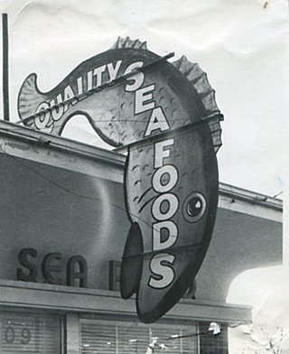Quality Seafood's sign at 409 E. 19th, in 1950