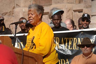 Former state Rep. Wilhelmina Delco speaks at the Capitol as part of Monday's march and festivities in celebration of Martin Luther King Jr. Day.