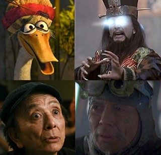 The many faces of James Hong: (clockwise from top left) Mr Ping in Dreamwork's 'Jung Fu Panda', Lo Pan in 'Big Trouble in Little China', Hannibal Chew in 'Blade Runner', and Master Wong in 'Balls of Fury'