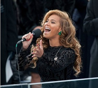Beyonce performing the national anthem on Monday