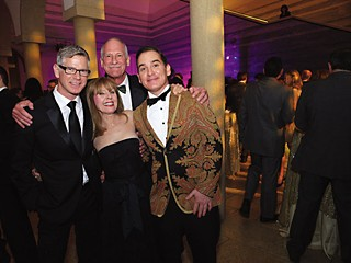 The Blanton's 50th Anniversary Gala featured art on loan from alumni donors like Alice Parrish and Richard Hargrove (center) pictured here with Scott Ballew (l) and artist Graydon Parrish (r).