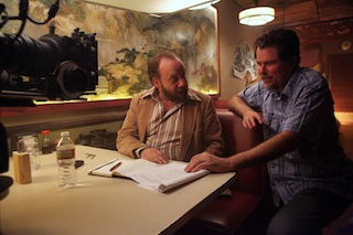 Don Coscarelli (r) with Paul Giamatti on the set of John Dies at the End