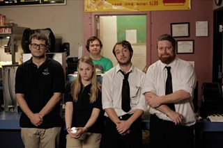 The staff of the Stanton Family Cinema, (l-r) Leonard (Byron Brown), Cassie (Lindsey Newell), Gabe (Mark Potts), Dennis (Brand Rackley), and Mason (John Merriman)