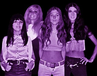 Suzi Quatro, left, with her sisters Arlene, Nancy, and Patti in the Sixties Detroit all-girl band the Pleasure Seekers