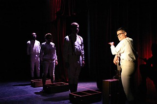 May I have some more, please?: Travis Tate, Aly Talley, Patrick Shaw, and William Davis in the 2012 workshop production of <i>The Poison Squad</i>.