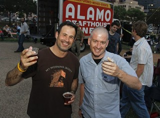 As if you don't know what they look like: Dogfish Head founder Sam Calagione with Alamo Drafthouse CEO Tim League