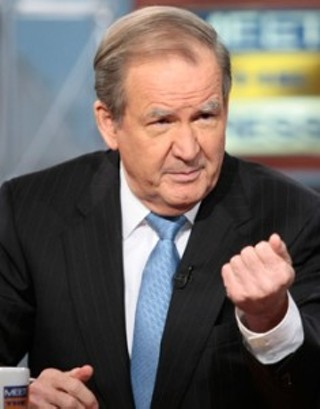 Pat Buchanan shows his fist of justice