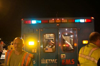 Triage at the scene of the horrific explosion at the West Fertilizer Plant last night in West, Texas