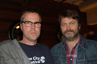 Bob Byington (l) and Nick Offerman at the premiere of Somebody Up There Likes Me