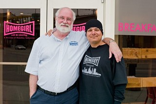 Fr. Greg Boyle (l) is the amiable man behind the huge success of Homeboy Industries.