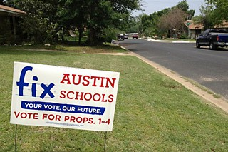 A Fix Austin Schools yard sign in a Zilker neighborhood