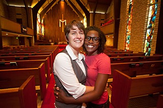 Mary Ann Kaiser (l) and Annanda Barclay inside Central Presbyterian Church