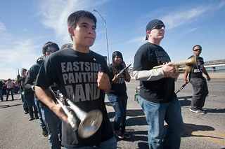 Eastside on parade: The Eastside Memorial High School Band, one part of the campus culture that could be saved if AISD Trustees and Commissioner Michael Williams adopt a community-endorsed plan for Johns Hopkins