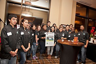 A group of Connally High culinary students showing off the 2012 Austin Food &amp; Wine Alliance grant they received to complete their documentary <i>True Beef: Texas Beef From Pasture to Plate</i>