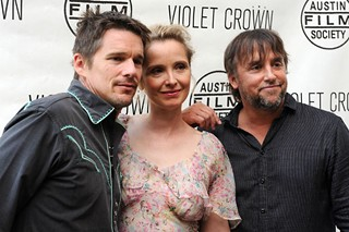 Ethan Hawke, Julie Delpy, and Richard Linklater at the Violet Crown premiere of their latest project together