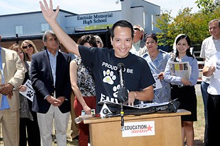 Community activist Vincent Tovar expresses joy at a May 7 press conference on AISD trustees' decision to tap Johns Hopkins as a turnaround partner for Eastside Memorial High.