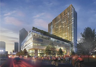 A rendering of the JW Marriott under construction at Third and Congress