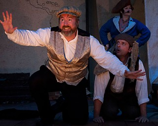 Taking pleasure in play: (l-r) Robert L. Berry, Nathan Jerkins, and Julie Linnard in <i>Shipwrecked!</i>