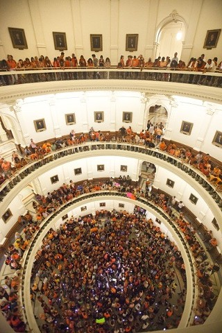 The eyes of the Texas state Capitol rotunda