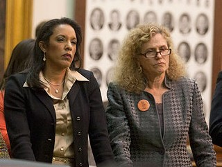 Travis County Democratic Reps. Dawnna Dukes and Donna Howard stand at the back rail of the Texas Senate for last week's SB5 filibuster