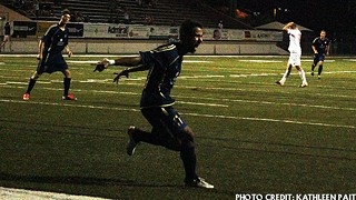 Andres Cuero celebrates a goal against West Texas Friday night