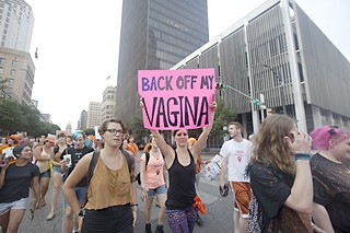 Pro-choice supporters took to Congress Avenue July 8.