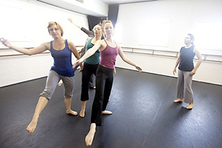Kathy Dunn Hamrick (r) rehearsing her dancers for <i>The Big Small in Nu Time</i>