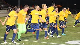 Aztex players celebrate winning the PDL Southern Conference title Saturday