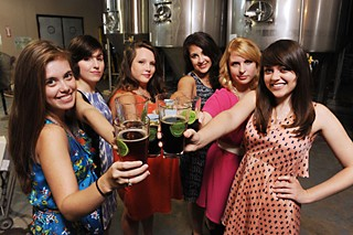 (l-r) Arianna Auber, Kat McCullough, Shaun Martin, Sarah Wood, Caroline Wallace, and Holly Aker of Bitch Beer at Thirsty Planet