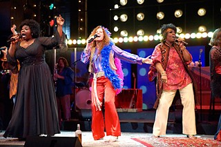 Just a little bit harder: (l-r) Tiffany Mann as the Blues Singer, Kacee Clanton as Janis Joplin, and Felicia Dinwiddie as a Joplinaire