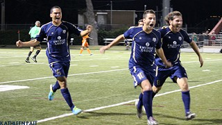 Goal-scorer Sito Seoane (center) celebrates the goal that put the Aztex into tonight's championship final