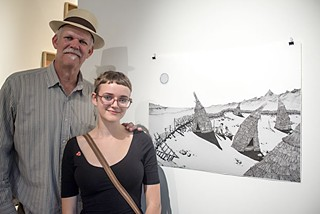 Katie Rose Pipkin with her father, Turk Pipkin, at the VAC art show