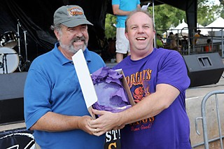 Special Variety winner Michael Rypka of Torchy's Tacos (r) with Robb Walsh