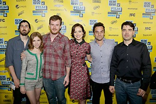 (l-r) Ti West, Anna Kendrick, Joe Swanberg, Olivia Wilde, Jake Johnson, and Ron Livingston at SXSW 2013