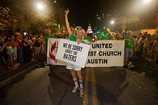 Members of First United Methodist Church of Austin march in the 23rd annual Austin Pride parade.