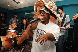 Bushwick Bill, backed by Raw Fusion, in T. Murphey's South Austin apartment