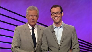 Jared Hall with 'Jeopardy!' host Alex Trebek