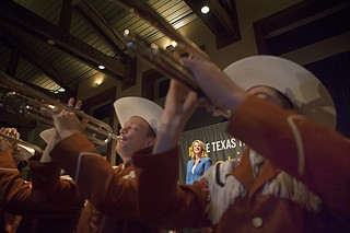 Wendy Davis watches from the stage as the UT marching band sounds the last notes of the Texas Tribune Festival, which ended Sept. 29.