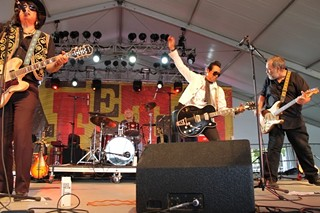 Last Gang in Town: (l-r) Javier Escovedo, Rey Washam, Alejandro Escovedo, and Jon Dee Graham at the Zilker Tent stage for the first weekend of ACL Fest 2013