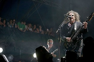 Robert Smith early into the Cure's second-weekend ACL Fest set – before he called down the rains.