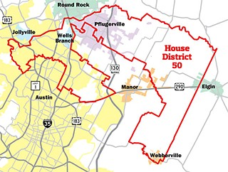 House District 50 incorporates parts of Austin, Manor, Jollyville, Elgin, Pflugerville, Round Rock, Webberville, and Wells Branch.