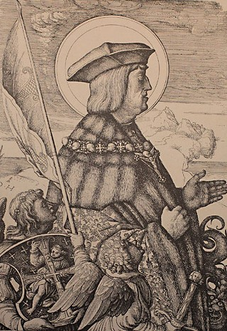 <i>Emperor Maximilian I in the Guise of St. George</i>, by Daniel Hopfer, c. 1509-10. Etching (iron) with open biting, plate bitten twice, on laid paper.
