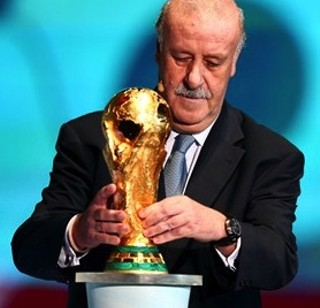 Spain coach Vicente del Bosque places the World Cup trophy on a plinth