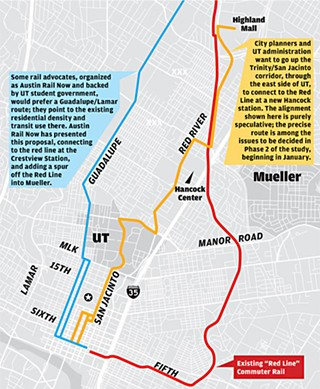 <b>Competing Visions:</b> The first big question is where to put the north-south urban rail line running from Downtown through the Capitol and UT complexes.