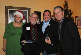 Musician Lindsey Leaverton, Care Communities' Roger Temme, new AGLCC board vice-president Edgar Gierbolini, and current AGLCC board president Jimmy Flannigan