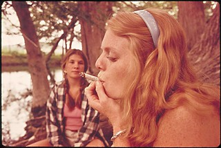Smoking pot on an outing in the Cedar Woods, near Leakey, Texas, 1973