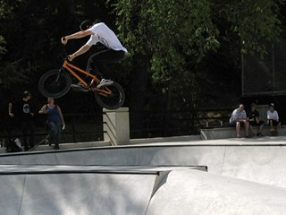 A BMX biker gets big air at the Shoal Creek Skate/BMX Park's 2011 opening.