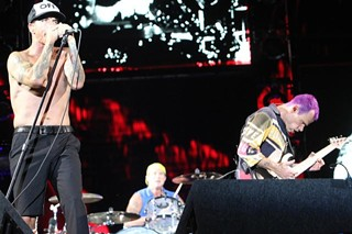 Anthony Kiedis – in his usual performance garb – leading the Red Hot Chili Peppers at ACL Fest 2012
