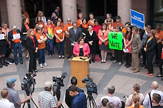 Sen. Leticia Van De Putte addresses the media and pro-choice advocates at the Capitol last week following a Senate committee hearing on the state of women's health care services in Texas. See Council: Down by Lady Bird.